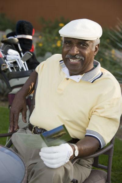 golfer relaxing after tournament